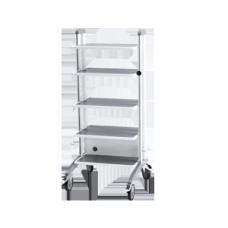 Стойка передвижная для эндоскопических аппаратов и устройств СА-1 (5 полок, держатель видеоголовки, держатель банок, ящик с удлинителем)