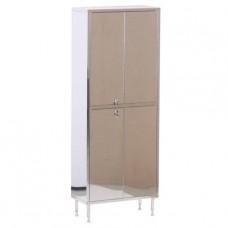 Шкаф металлический двухсекционный, двухдверный из нержавейки