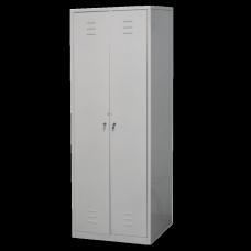 Шкаф для одежды металлический двухстворчатый с двумя отделениями на заклепках 600х500х1790