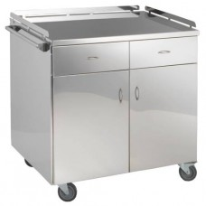 Столик инструментальный для анестезиолога из нержавеющей стали, с двумя выдвижными ящиками