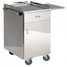 Столик инструментальный для анестезиолога из нержавеющей стали, с выдвижным ящиком и дверкой