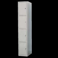 Шкаф металлический разборный для одежды и сумок с четырьмя ячейками (на заклепках) 300х500х1790.