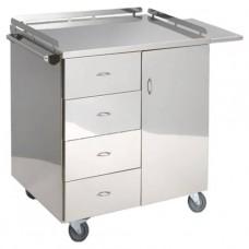 Столик инструментальный для анестезиолога из нержавеющей стали, с четырьмя выдвижными ящиками и двер