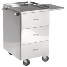 Столик инструментальный для анестезиолога из нержавеющей стали, с нишей и тремя выдвижными ящиками,