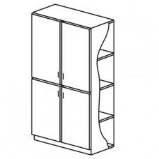 Шкафы двухстворчатые с четырьмя дверцами с полками
