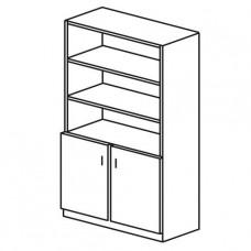 Шкаф книжный двухстворчатый с верхними открытыми полками